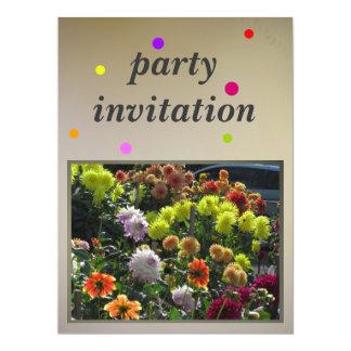 Orange Pink Yellow Flowers 17 Cm X 22 Cm Invitation Card