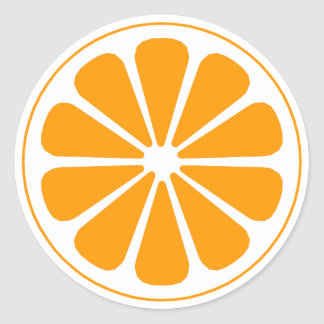 orange pinwheel classic round sticker