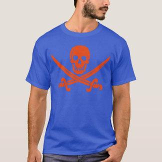 Orange Pirate Skull and Swords Blue T-Shirt