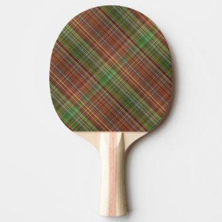 Orange Plaid Design Ping Pong Paddle