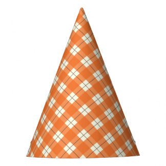 Orange Plaid Party Hat