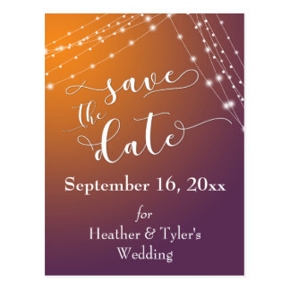 Orange Plum Ombre & Light Strings Save the Date Postcard