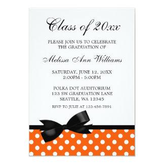 "Orange Polka Dot Black Bow Graduation Announcement 5"" X 7"" Invitation Card"