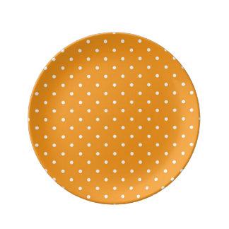 Orange Polka Dot Design Porcelain Plates