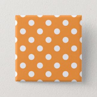 Orange Polka Dot Pattern 15 Cm Square Badge