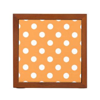 Orange Polka Dot Pattern Desk Organiser