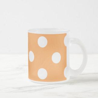 Orange Polka Dot Pattern Frosted Glass Coffee Mug