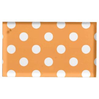 Orange Polka Dot Pattern Place Card Holder
