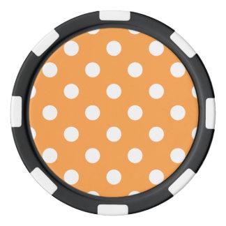 Orange Polka Dot Pattern Poker Chips