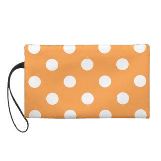 Orange Polka Dot Pattern Wristlet