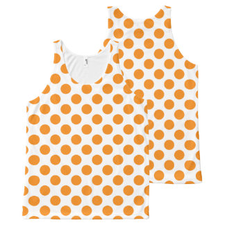 Orange Polka Dots All-Over Print Tank Top