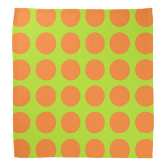 Orange Polka Dots Lime Green Bandana
