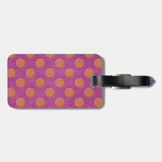 Orange Polka Dots on Pink Magenta Leather Texture Tags For Luggage