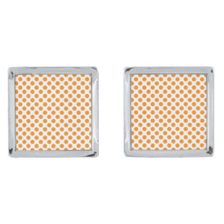Orange Polka Dots Silver Finish Cufflinks