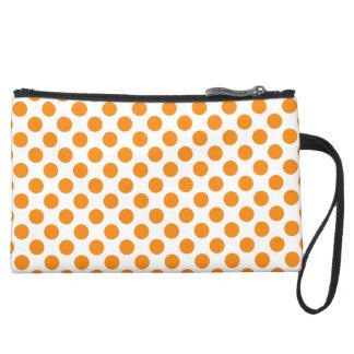 Orange Polka Dots Suede Wristlet