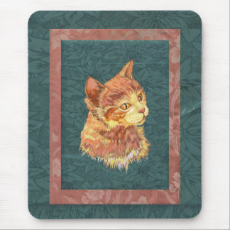 Orange Pop Art Tabby on green silk brocade print Mouse Pad