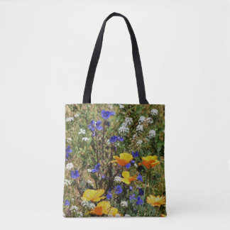 Orange Poppies and Bluebells Textured Tote Bag