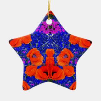 Orange Poppies & Blue Garden by SHARLES Ornament