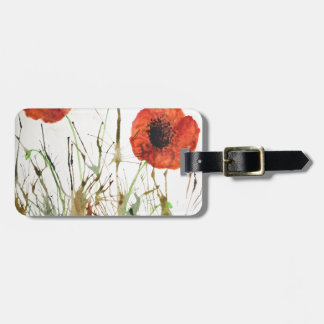 Orange Poppies in the grass Luggage Tag