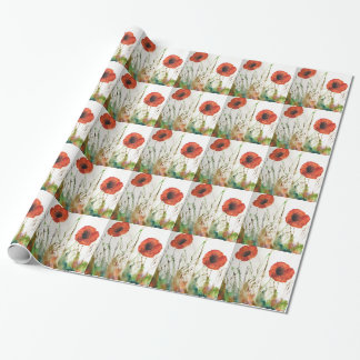 Orange Poppies in the grass Wrapping Paper