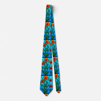 Orange Poppies on Aqua Blue Tie