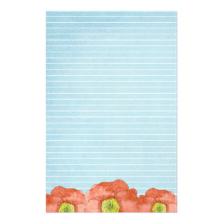 Orange Poppies Watercolor Lined Letter Writing Stationery