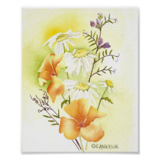 orange poppies, white daisies and purple sweetpeas poster