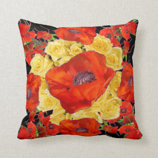 ORANGE POPPIES YELLOW ROSE GARDEN ART CUSHION