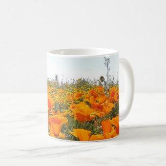 Orange Poppy Field of Flowers Coffee Mug
