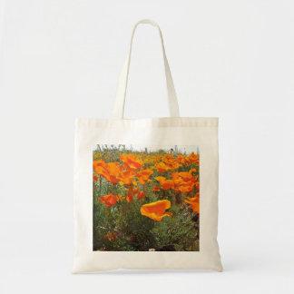 Orange Poppy Field of Flowers Tote Bag