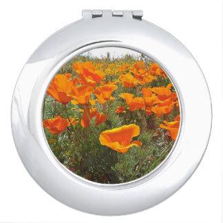 Orange Poppy Field of Flowers Vanity Mirrors