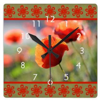 Orange Poppy Flower Wall Clock