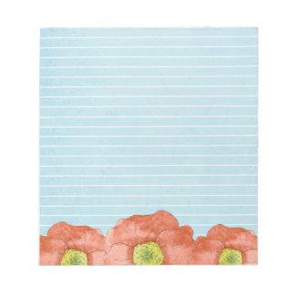 Orange Poppy Flowers Lined Notepad Light Blue
