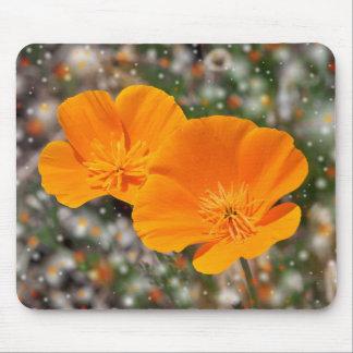 Orange poppy flowers mouse pad