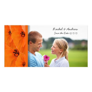 Orange Poppy Save the Date Customized Photo Card