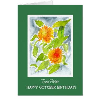 Orange Pot Marigolds Partner's October Birthday Card
