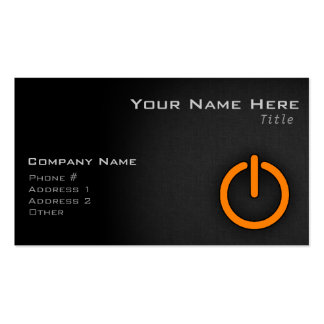 Orange Power Button Pack Of Standard Business Cards