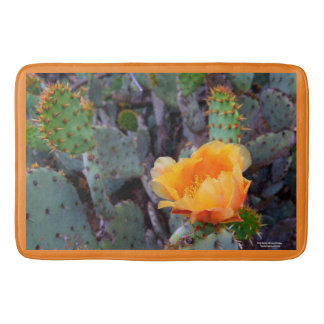 Orange prickly pear opuntia cactus flower photo bath mat