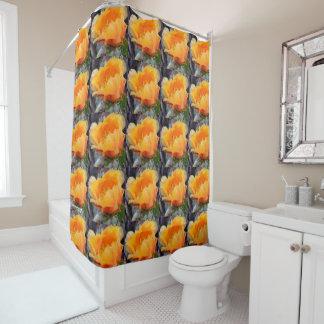 Orange prickly pear opuntia cactus flower photo shower curtain