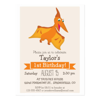 Orange Pterodactyl Dinosaur Kid's Birthday Party Postcard