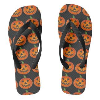 Orange Pumpkin Carving Jack o' Lantern Halloween Thongs