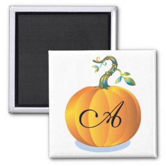 Orange Pumpkin Monogram Letter A Magnet