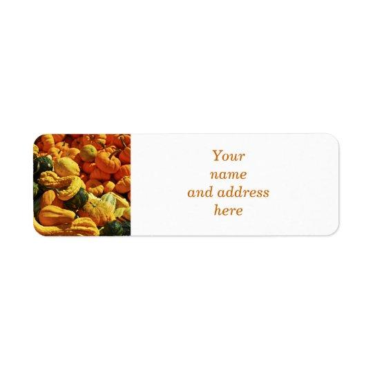 Orange pumpkins and gourds return address label