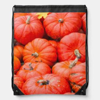 Orange pumpkins at market, Germany Drawstring Bag
