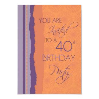 Orange Purple 40th Birthday Party Invitation Card