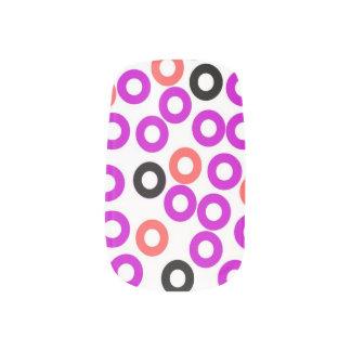 orange, purple and black circles nail art