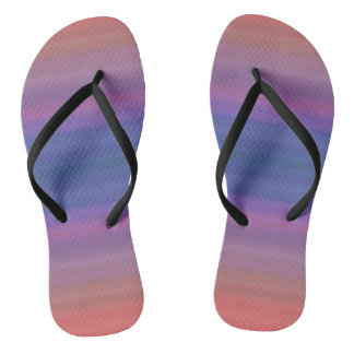 Orange Purple and Blue Stripes Abstract Art Design Thongs