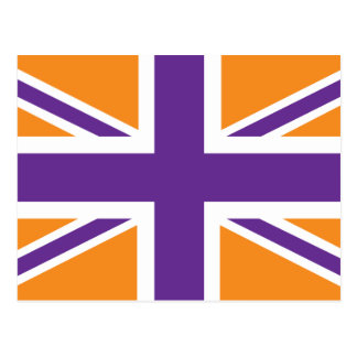 Orange Purple Classic Union Jack British(UK) Flag Postcard