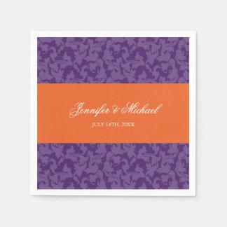 Orange Purple Damask Swirl Wedding Personalized Paper Serviettes