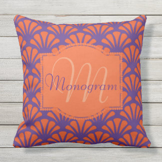 Orange & Purple Design with Monogram Outdoor Cushion